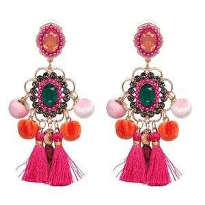 Pink Gold Moroccan tassel chandelier earrings